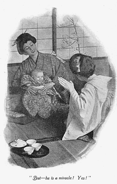 Cho-Cho-San shows her baby to Suzuki. Illustration by C. Yarnall Abbott.