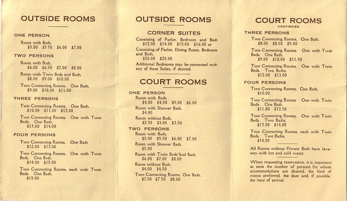 hotel astor list of room prices circa 1919