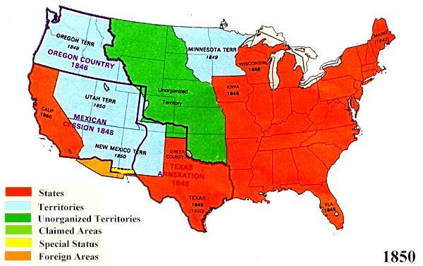 US Territorial Maps - 1850 map of us