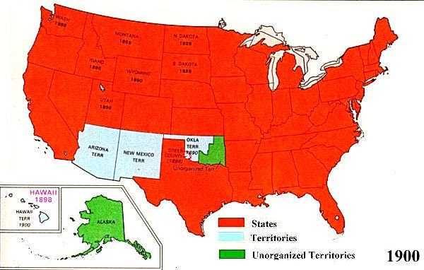 US Territorial Maps - Us map in 1900