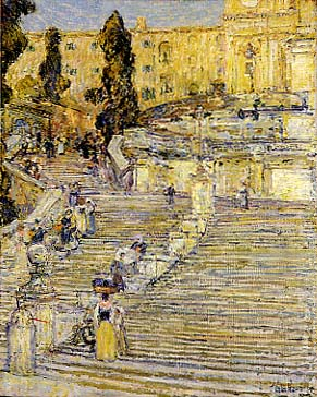 Captivating Childe Hassam American, 1859 1935. The Spanish Stairs, 1897 Oil, 29 X 23.